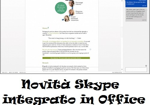 Novità Skype integrato in Office Online
