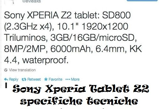 Sony Xperia Tablet Z2 specifiche tecniche trapelate online