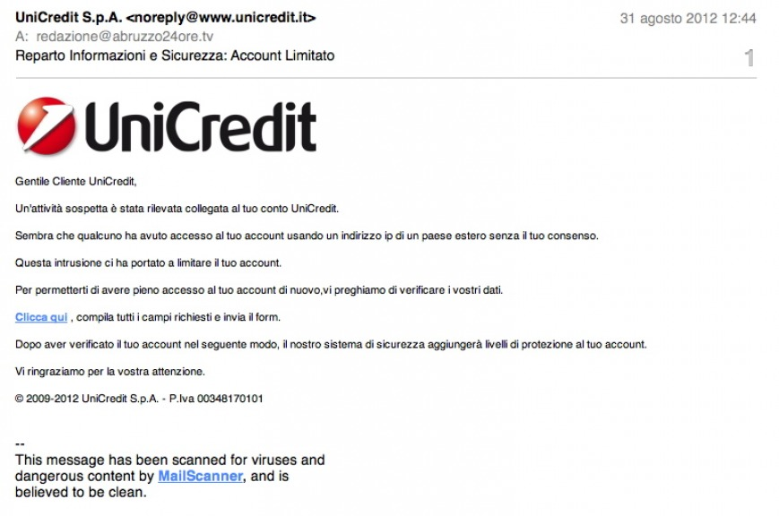 Unicredit, le truffe viaggiano via sms e mail
