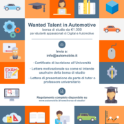 Wanted Talent in Automotive: automobile.it offre una borsa di studio di 1.000 euro